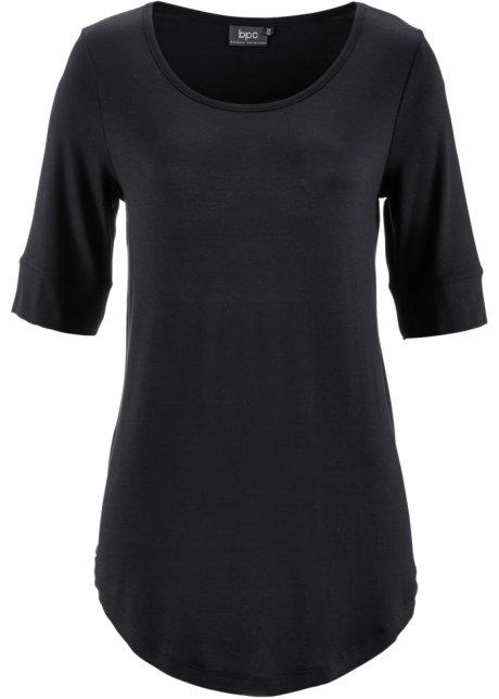 ed59a9ec4cada T-shirt avec manches mi-longues et encolure ronde - noir