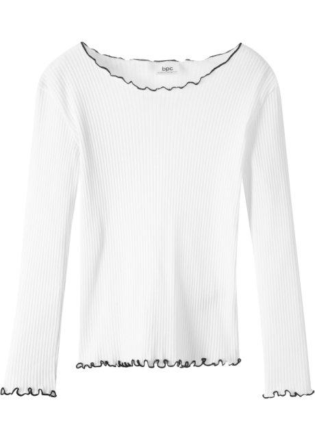 T-shirt côtelé à manches longues blanc noir - bpc bonprix collection ... 18c201c720b