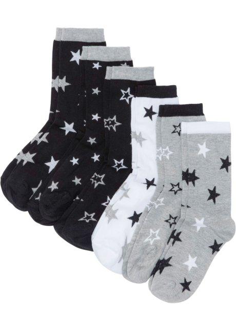 Lot de 6 paires de chaussettes femme noir blanc gris clair chiné ... 677af298d6cf