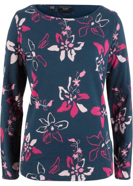 efc56f795b69 T-shirt manches longues à imprimé floral bleu foncé imprimé - Femme ...