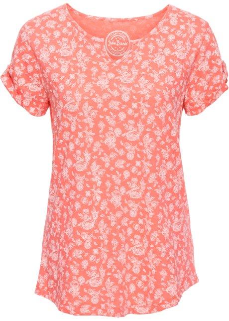 dbb16a28c57f T-shirt coton imprimé à manches courtes saumon fluo - Femme - bonprix.fr