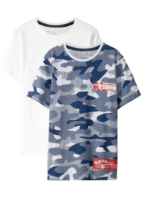 0c78445113569 Lot de 2 T-shirts blanc   bleu foncé à motif - Enfant - bpc bonprix ...