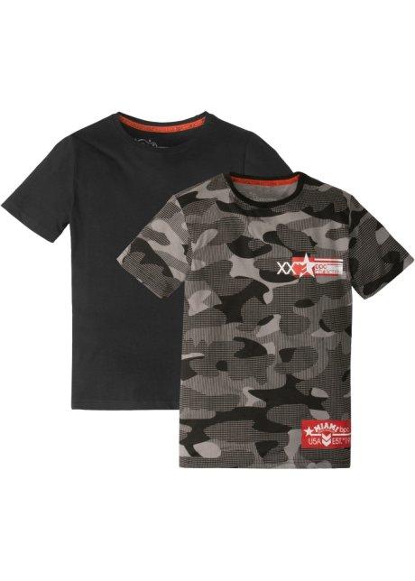 5e34cae4db99a Lot de 2 T-shirts blanc   gris   noir à motif - bpc bonprix ...