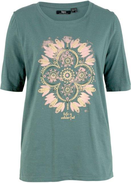 9e080aa2df613 T-shirt à imprimé placé, demi-manches vert eucalyptus imprimé ...