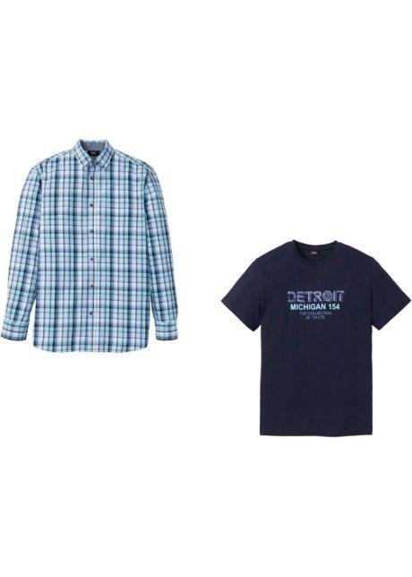 Ensemble : chemise manches longues + T shirt de coupe spéciale ventre