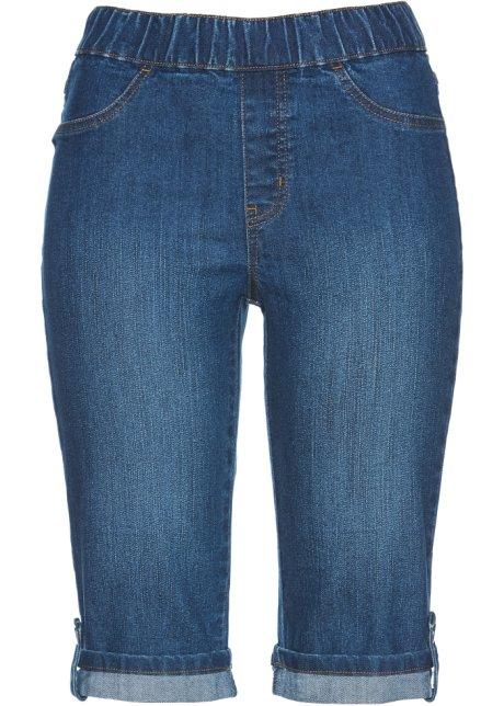 e5950890c66ed Bermuda en jean avec tour de taille élastiqué bleu stone - Femme ...