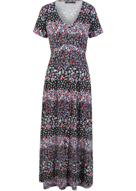 Robe Longue En Jersey Manches Courtes Noir Violet A Fleurs Bpc Bonprix Collection Bonprix Fr