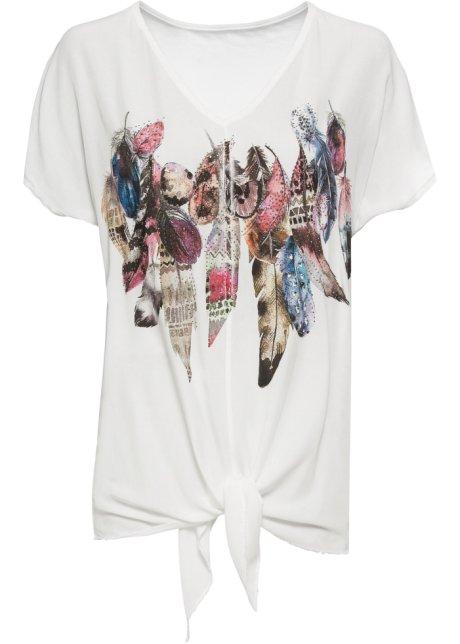 T shirt à imprimé plume et strass appliqués
