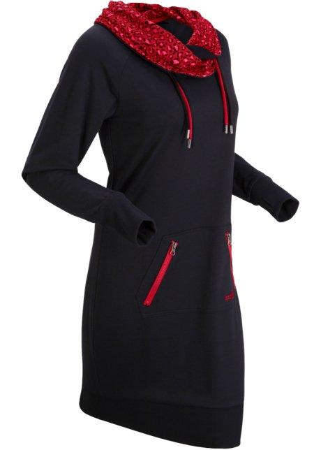 Robe Sweat Confortable Avec Poche Zippee Noir