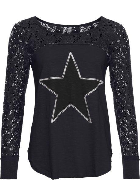 T-shirt manches longues dentelle étoile imprimé