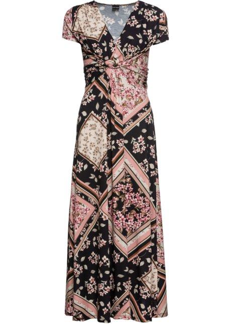 Robe Longue En Jersey Imprimee Rose Noir Imprime Bodyflirt Bonprix Fr