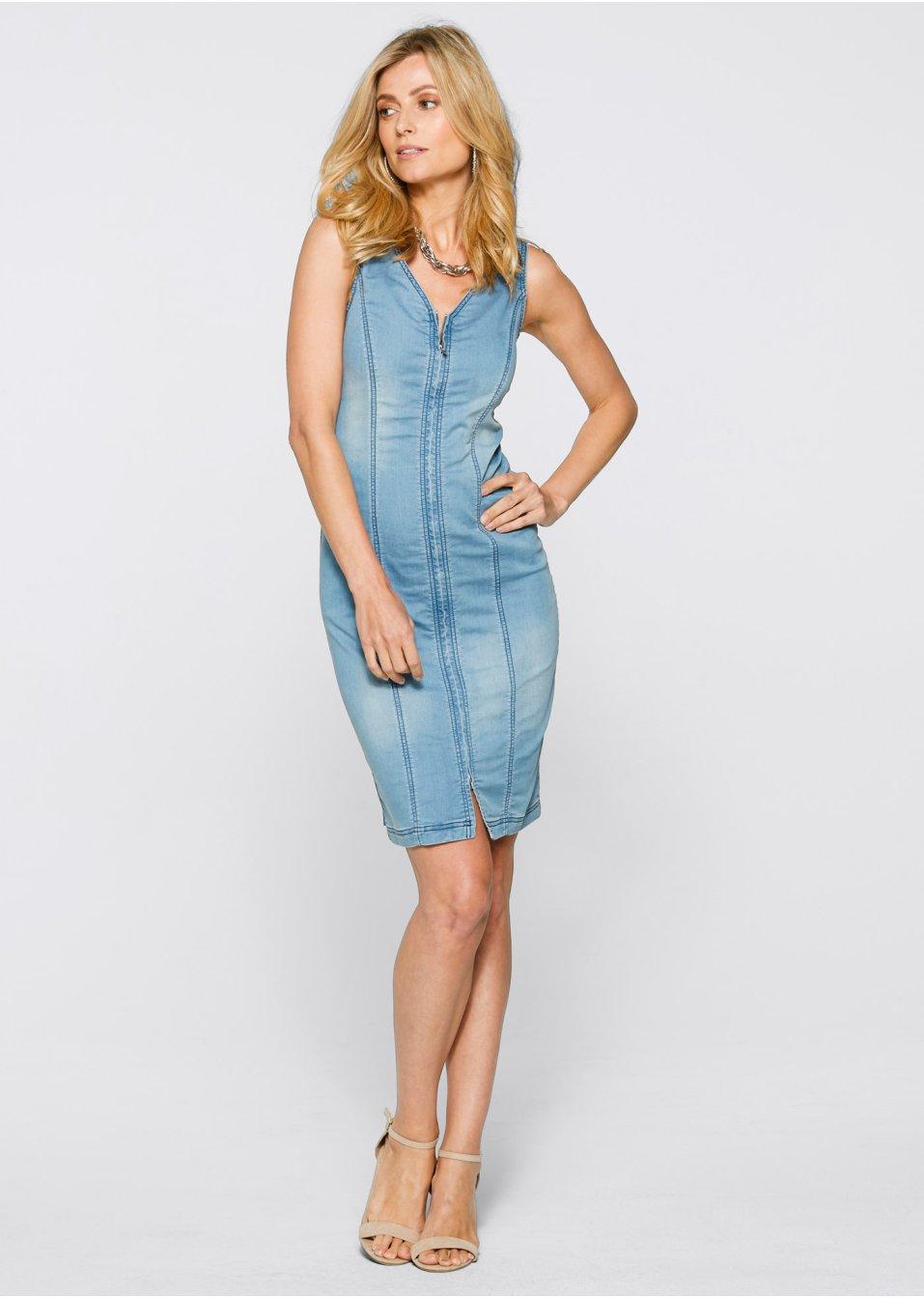 Mode Femme Vêtements DJLfdOFlkj Robe en jean stylée avec décolleté en V et fermeture zippée double sens bleu bleached