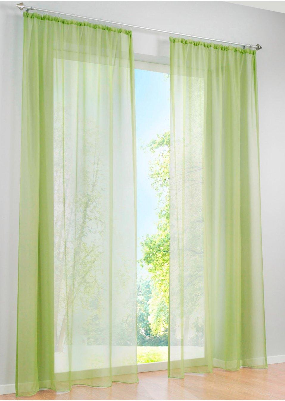 voilage uni 1 pce vert maison bpc living. Black Bedroom Furniture Sets. Home Design Ideas