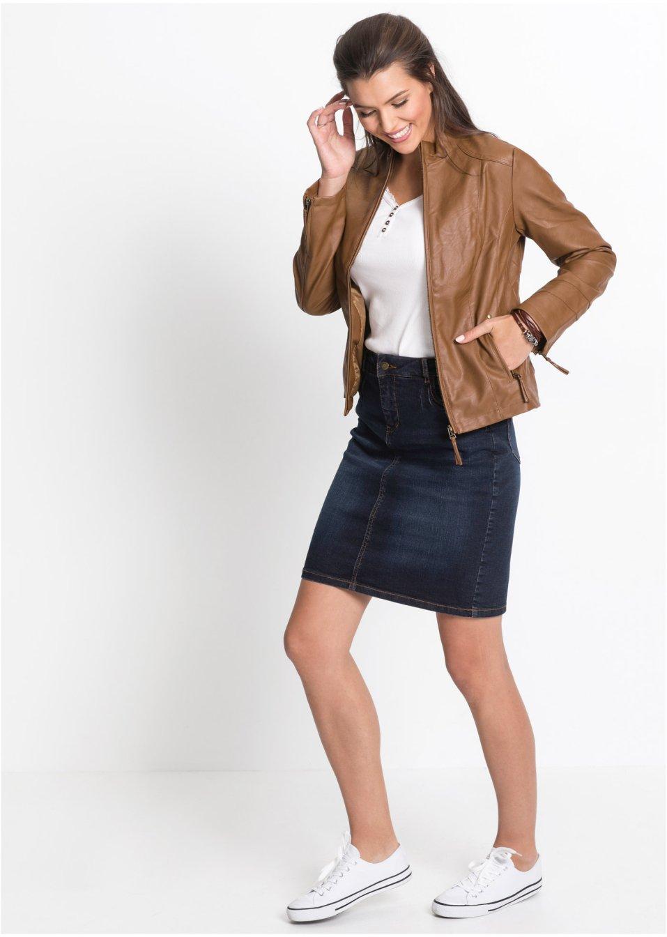 Mode Femme Vêtements DJLfdOFlkj Jupe en jean basique look used bleu foncé, T.N.