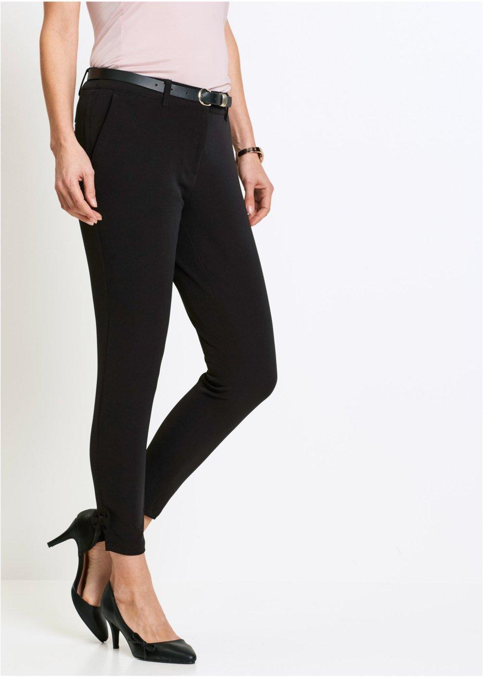 pantalon avec n uds d coratifs noir femme. Black Bedroom Furniture Sets. Home Design Ideas