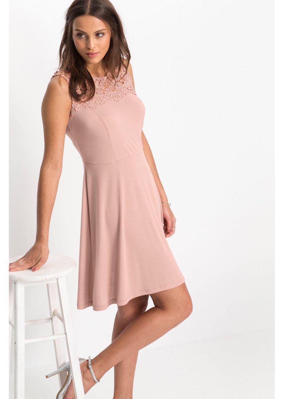robe en jersey avec dentelle rose vintage bodyflirt acheter online