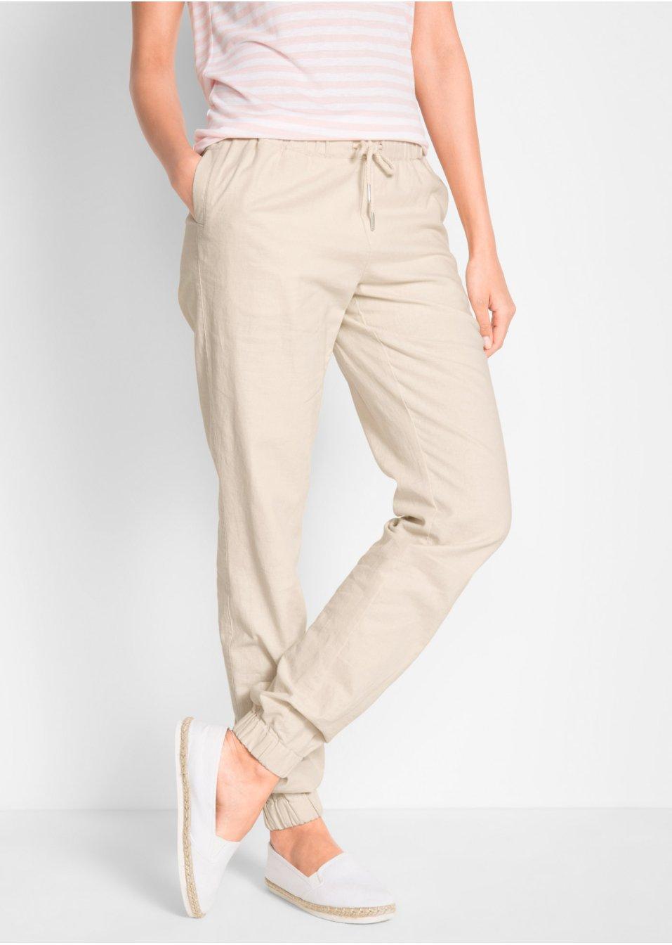 05e7c341edc99 Pantalon en lin beige galet - Femme - bpc bonprix collection - bonprix.fr