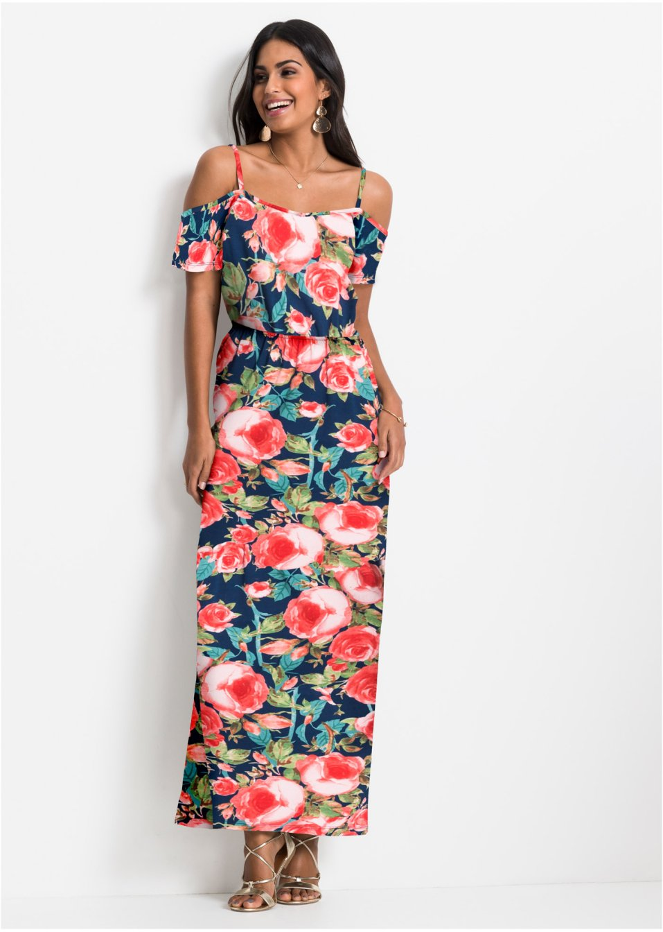 Robes Sisley Femme | Robe longue à volant Bleu ⋆ JO Mertens