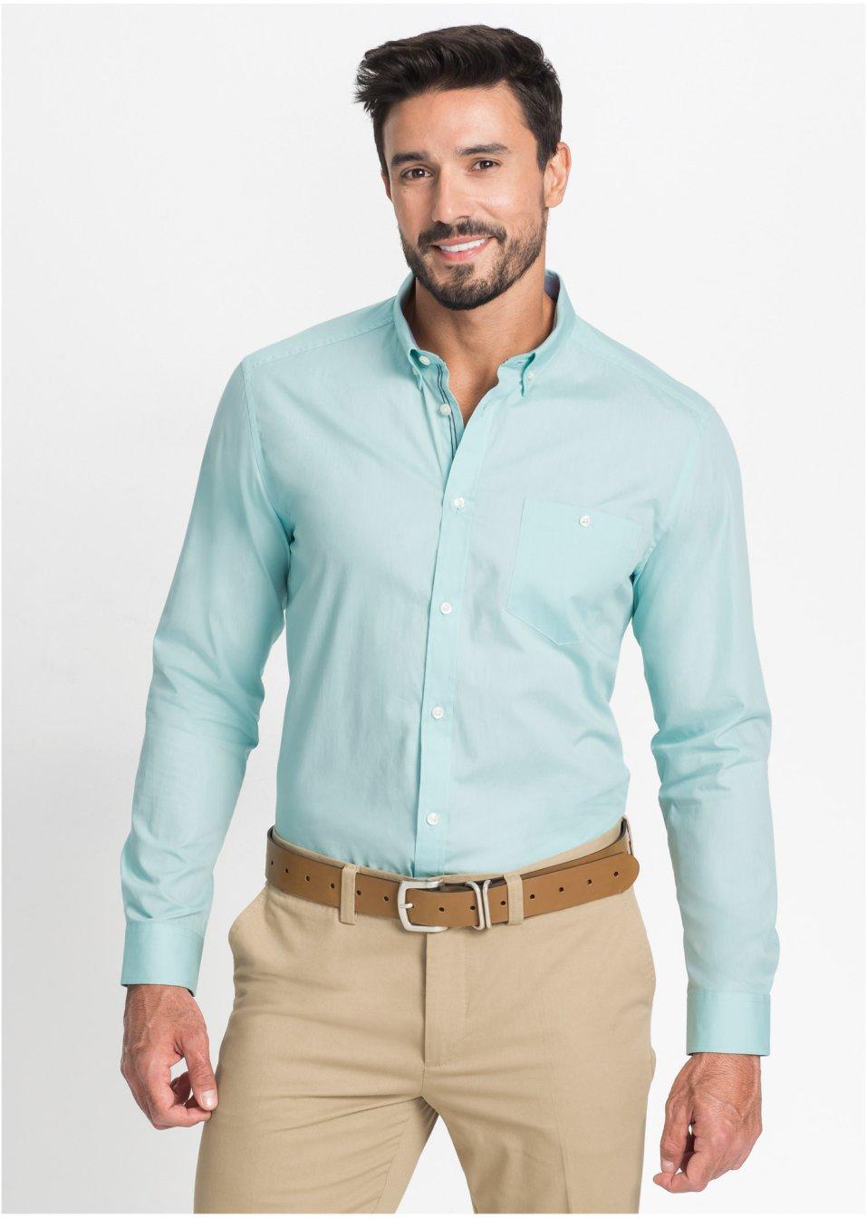 Chemise manches longues turquoise clair homme bpc - Bonprix herrenhemden ...