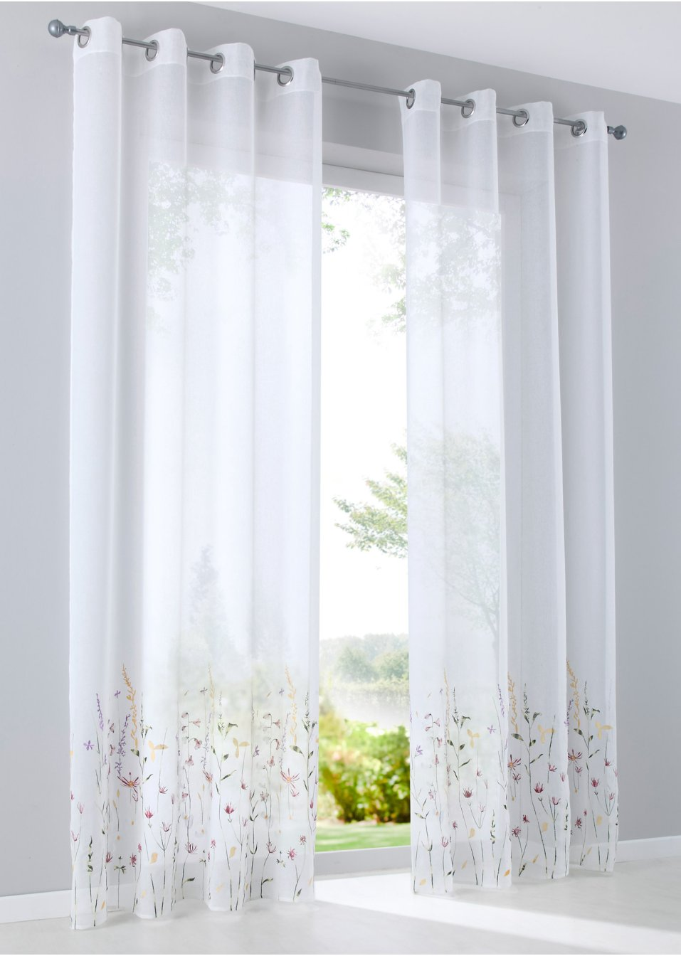 voilage alexa 1 pce blanc multicolore bpc living commande online. Black Bedroom Furniture Sets. Home Design Ideas
