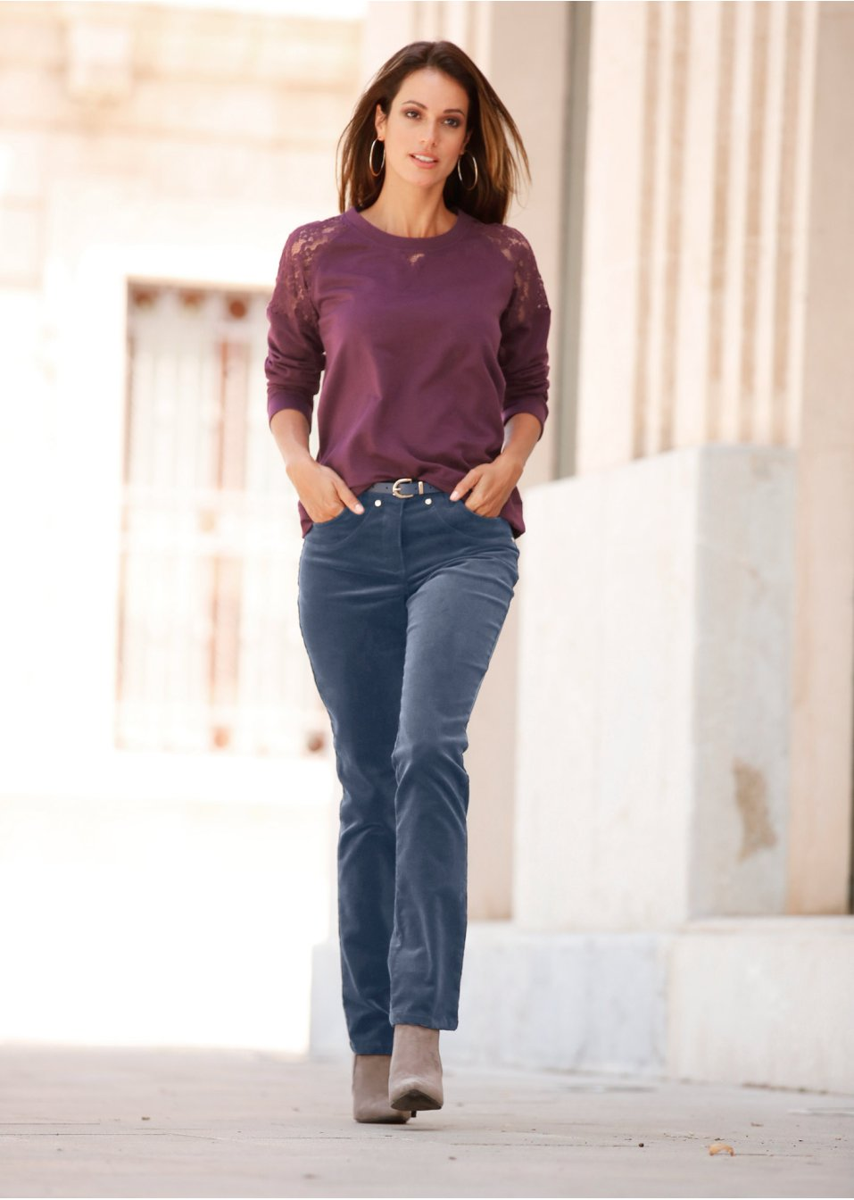 e67015f7b7909 Pantalon velours côtelé extensible rose dragée - Femme - bpc selection -  bonprix.fr