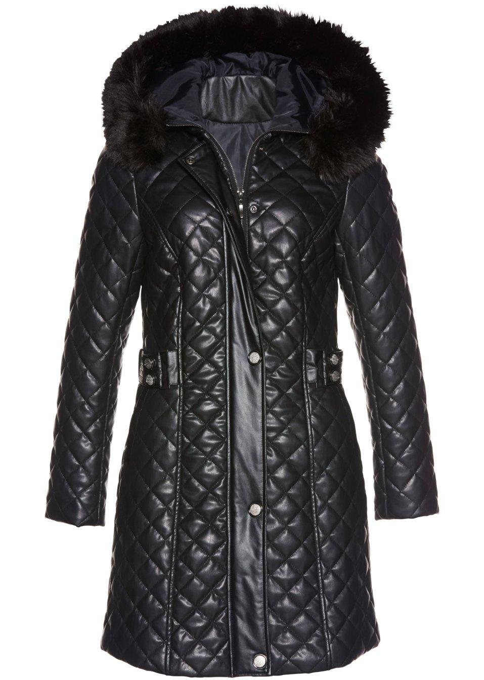 Mode Femme Vêtements DJLfdOFlkj Manteau matelassé en synthétique imitation cuir noir bpc selection premium .fr