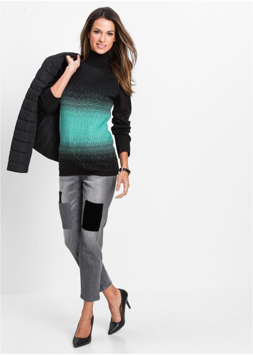 Mode Femme Vêtements DJLfdOFlkj Pull col roulé noir/vert pacifique bpc selection .fr