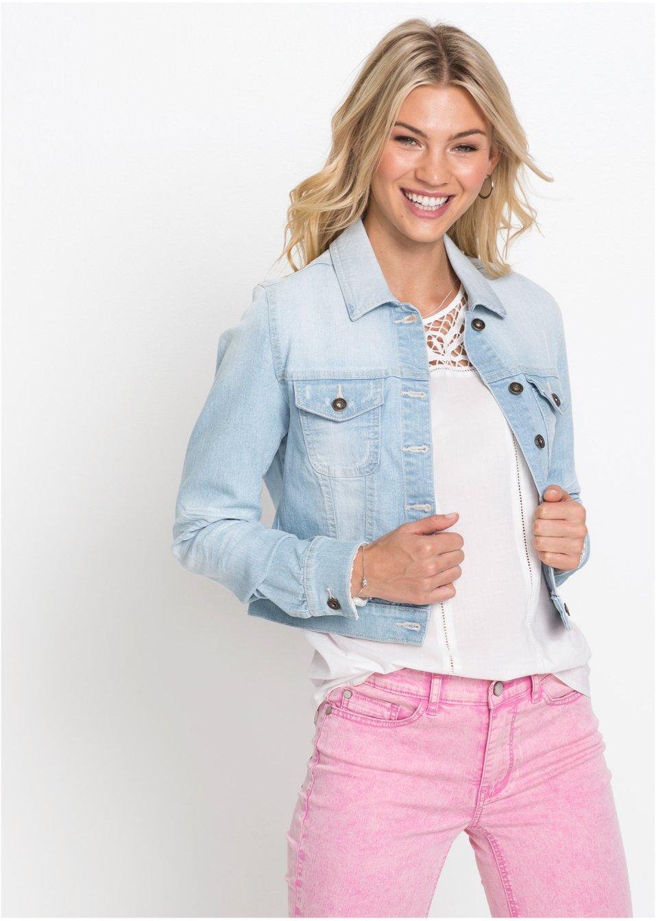 Veste en jean à empiècement dentelle bleu bleached - RAINBOW - bonprix.fr 81609c202369