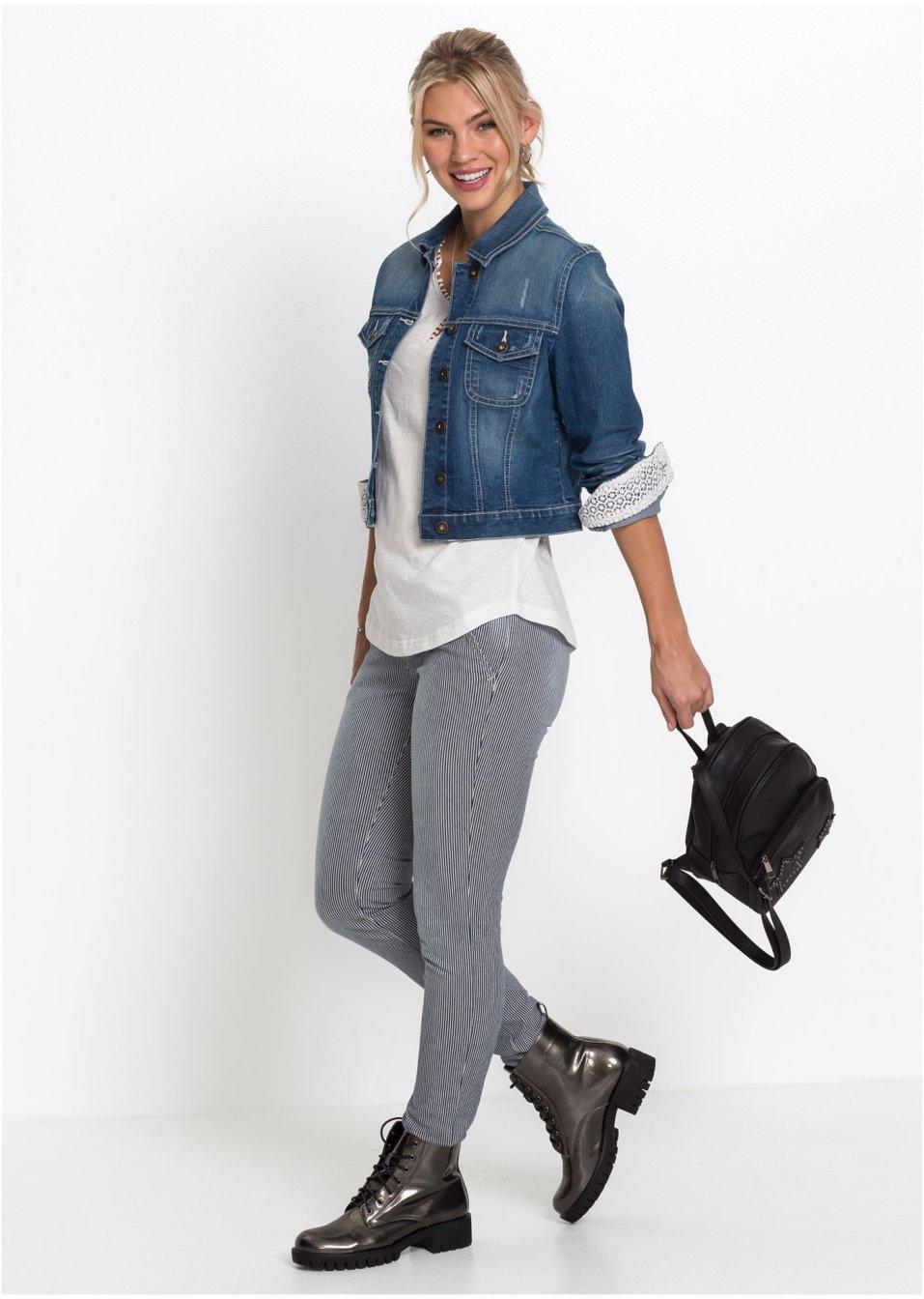 Mode Femme Vêtements DJLfdOFlkj Veste en jean à empiècement dentelle bleu stone RAINBOW commande online .fr