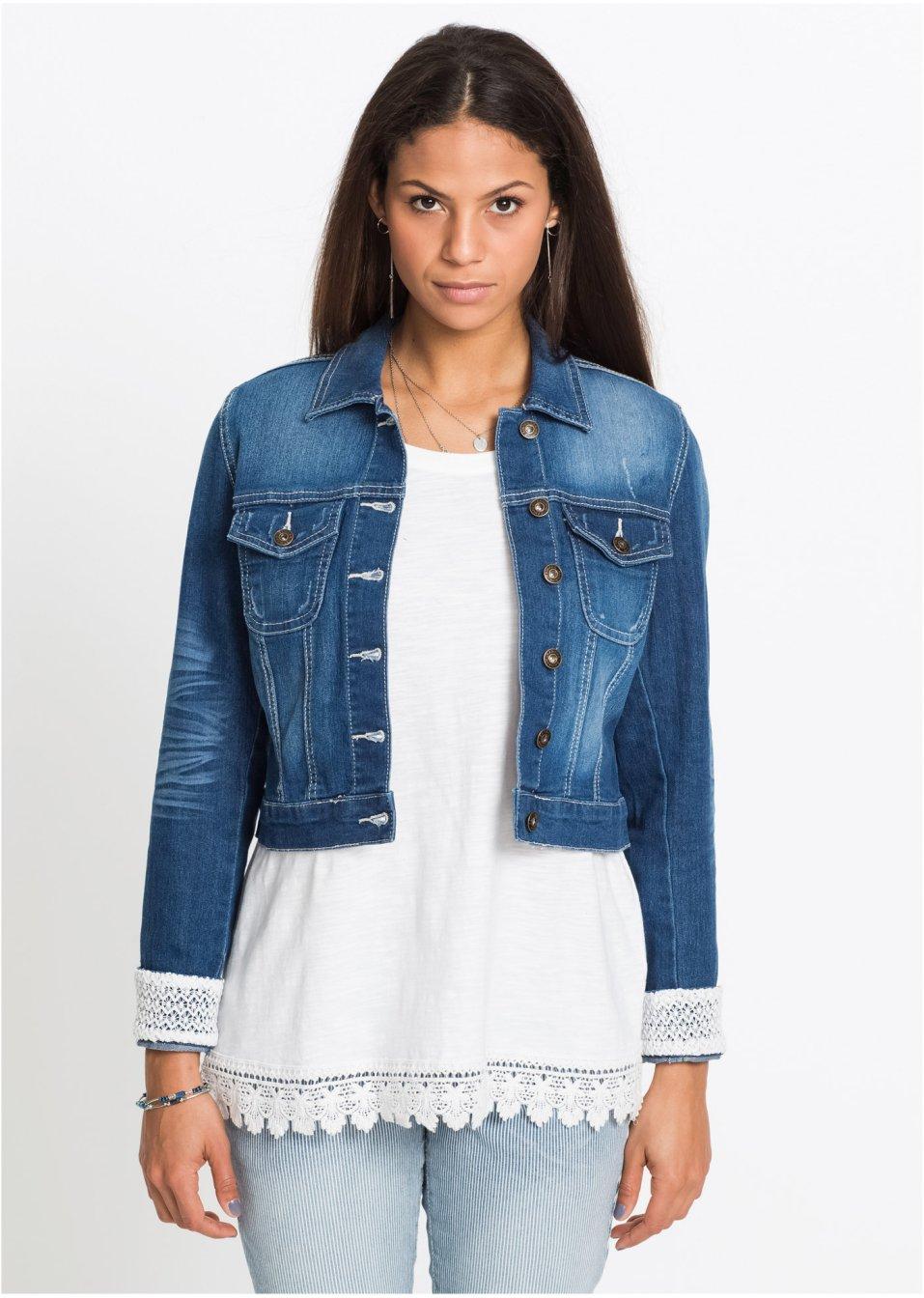 Veste en jean à empiècement dentelle indigo rayé - Femme - bonprix.fr 35228bb428d7
