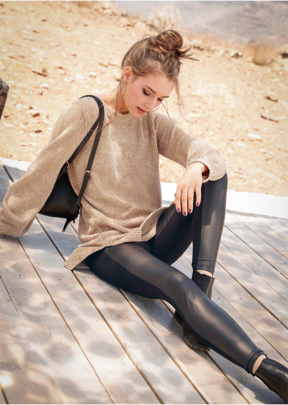 Legging en synthétique imitation cuir noir - Femme - RAINBOW - bonprix.fr 7d521401de8