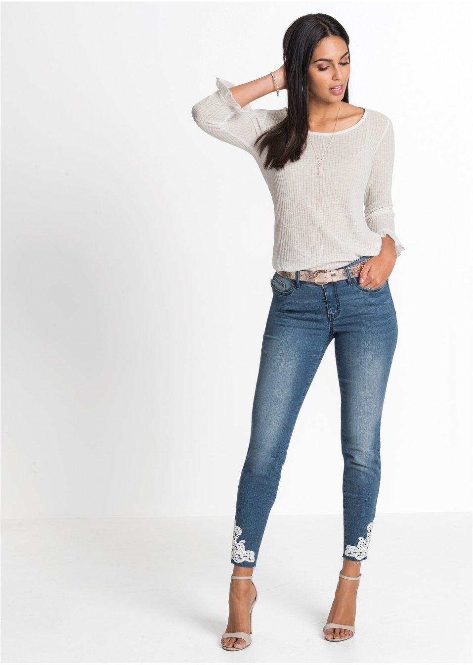 Mode Femme Vêtements DJLfdOFlkj Jean skinny féminin, forme 5 poches bleu bleached