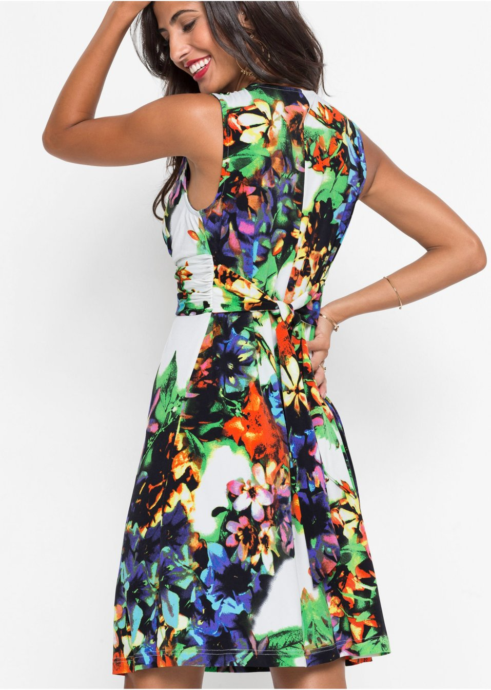 Mode Femme Vêtements DJLfdOFlkj Robe séduisante à imprimé floral et décolleté plongeant bleu/blanc à fleurs