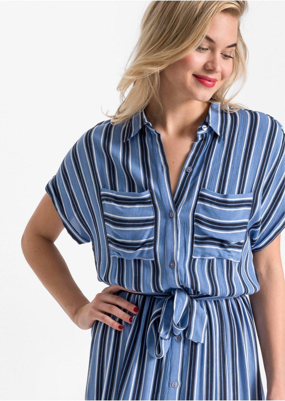 Mode Femme Vêtements DJLfdOFlkj Robe-chemise cool avec ceinture bleu foncé/bleu cristal/blanc cassé rayé