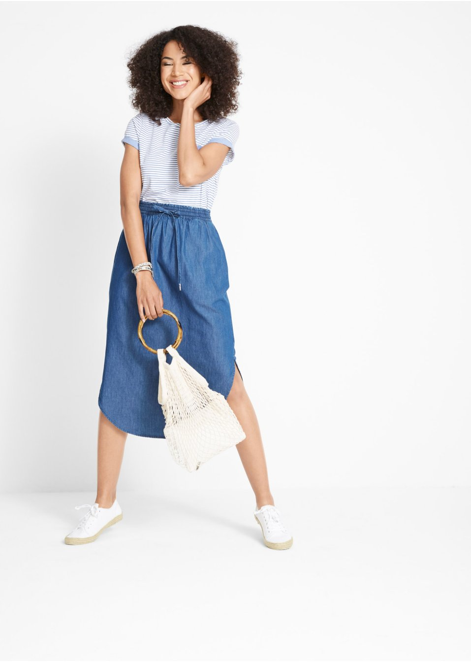 Mode Femme Vêtements DJLfdOFlkj Jupe en jean avec taille élastiquée bleu Femme John Baner JEANSWEAR .fr