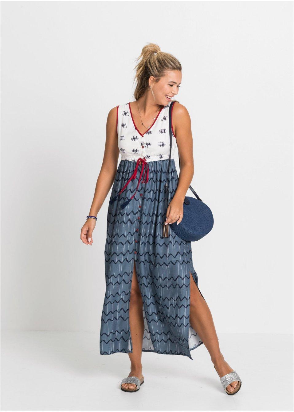 Mode Femme Vêtements DJLfdOFlkj Robe avec lien à nouer bleu fumée/bleu foncé/blanc à motif RAINBOW .fr