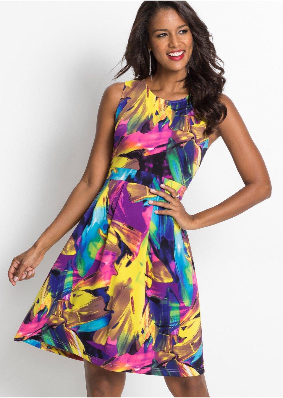 Mode Femme Vêtements DJLfdOFlkj Robe à imprimé multicolore jaune/fuchsia/bleu imprimé BODYFLIRT boutique acheter online .fr