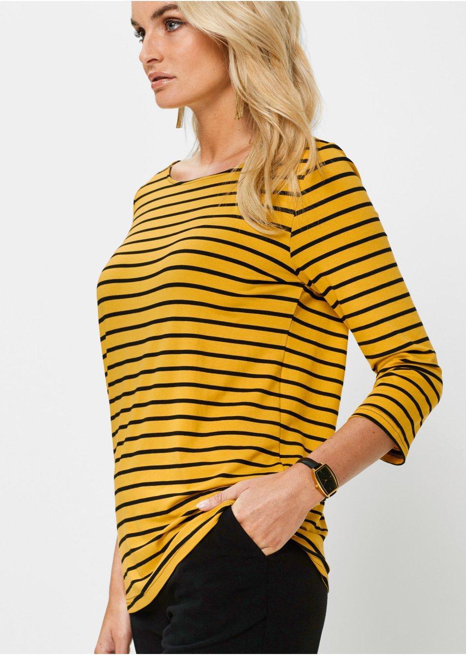 Mode Femme Vêtements DJLfdOFlkj T-shirt manches 3/4 curry/noir rayé Femme bpc selection .fr