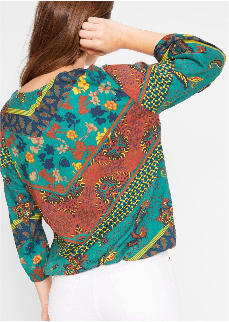 Mode Femme Vêtements DJLfdOFlkj Tunique imprimée avec élastique, manches 3/4 émeraude imprimé John Baner JEANSWEAR acheter online .fr