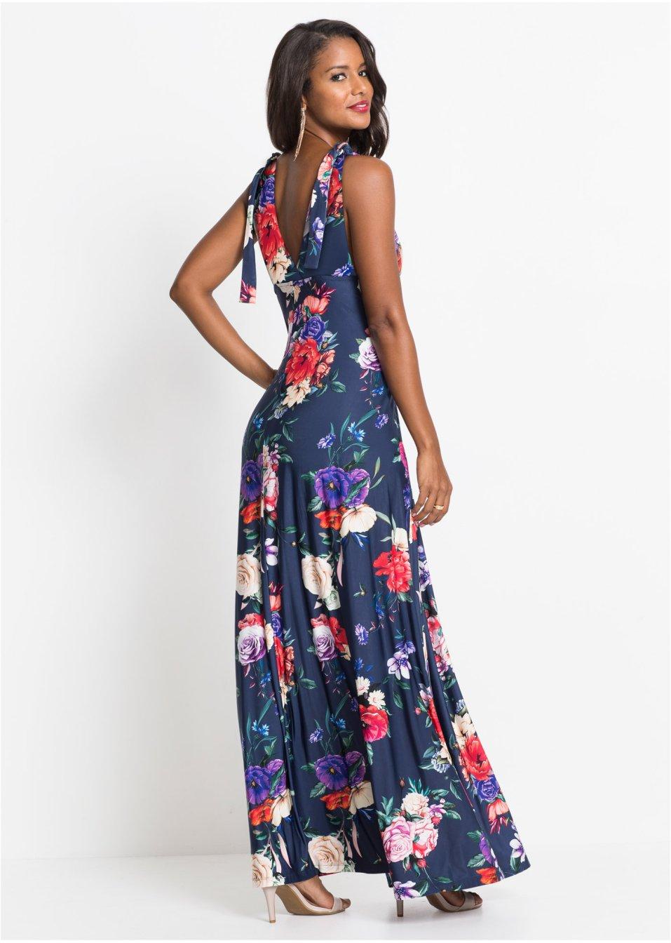 Mode Femme Vêtements DJLfdOFlkj Robe longue à fleurs bleu foncé à fleurs Femme .fr