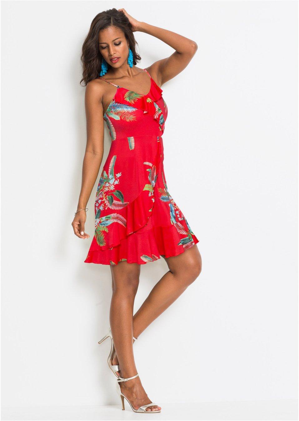 Mode Femme Vêtements DJLfdOFlkj Robe à volants et imprimé floral rouge à fleurs Femme BODYFLIRT boutique .fr