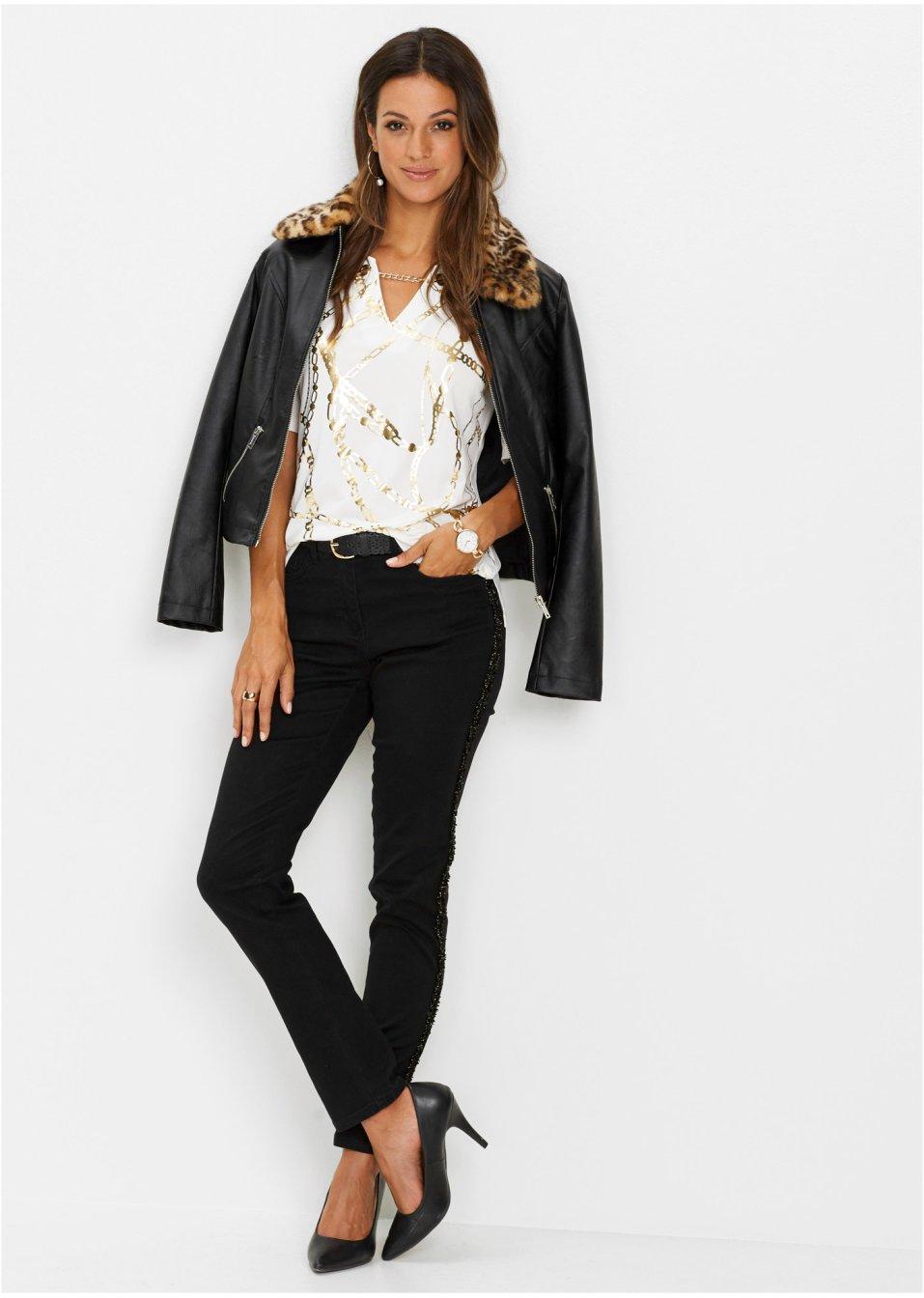 Mode Femme Vêtements DJLfdOFlkj T-shirt imprimé moderne à détail chaîne blanc/doré