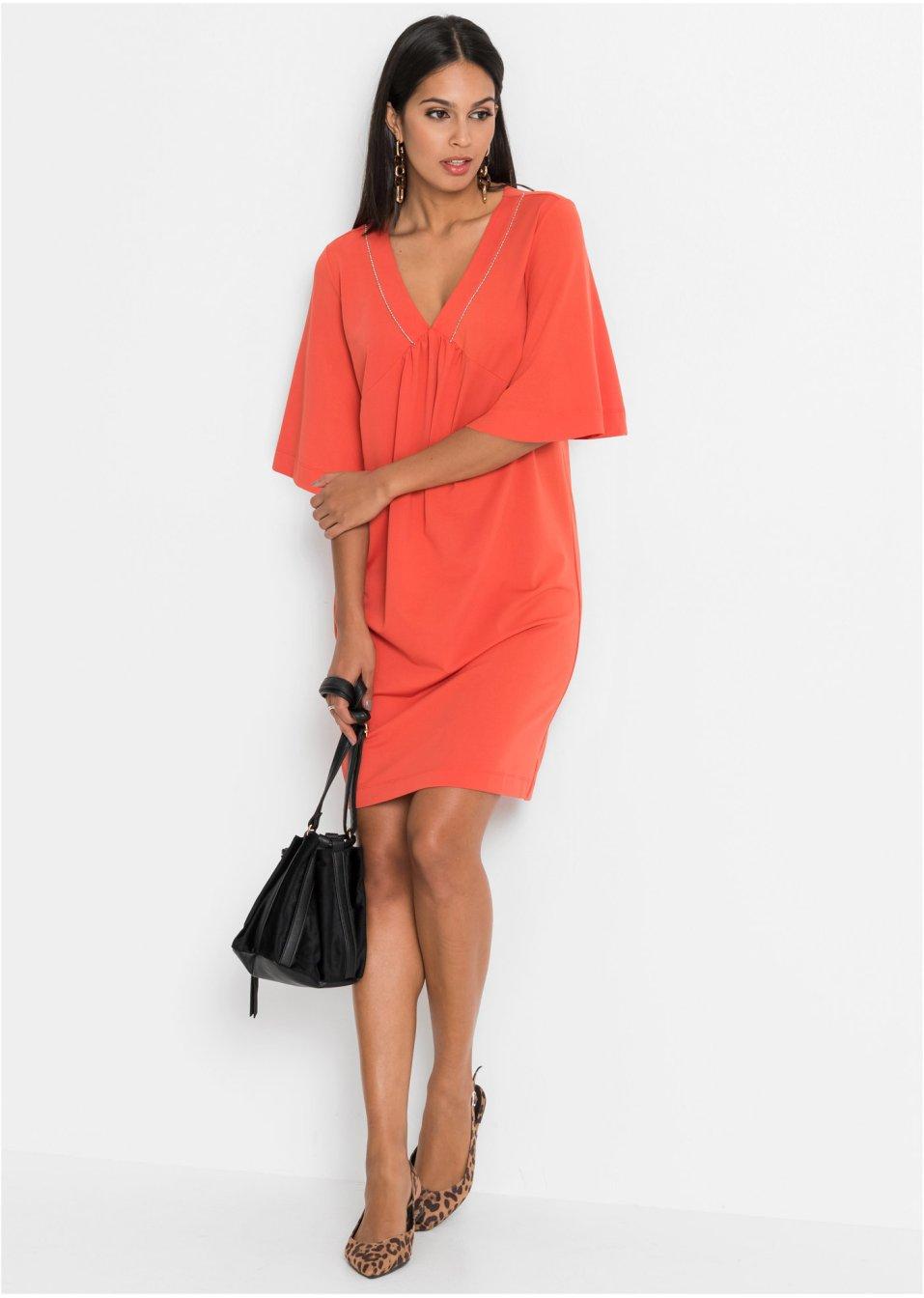 Mode Femme Vêtements DJLfdOFlkj Robe mode avec décolleté en V et pierres décoratives orange mat