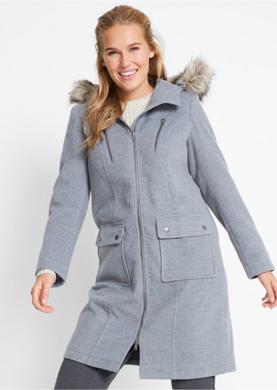 Mode Femme Vêtements DJLfdOFlkj Manteau imitation laine gris chiné Femme .fr