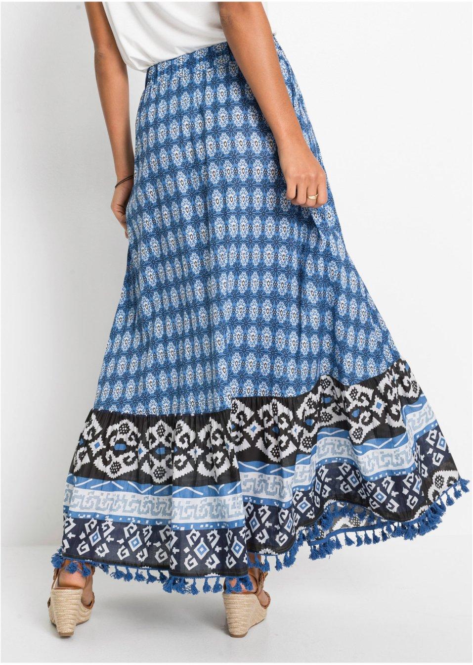 Mode Femme Vêtements DJLfdOFlkj Jupe longue avec pompons bleu cristal à motif Femme BODYFLIRT .fr