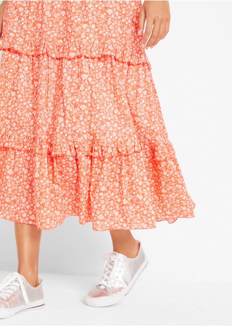 Mode Femme Vêtements DJLfdOFlkj Jupe Maite Kelly orange saumon/blanc imprimé Femme bpc  collection .fr