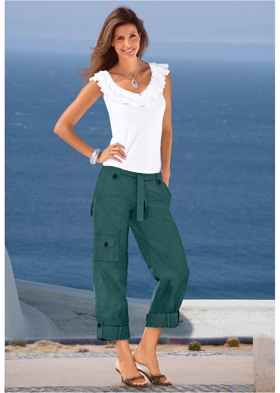 Mode Femme Vêtements DJLfdOFlkj Pantalon élégant avec ceinture et poches vert pétrole