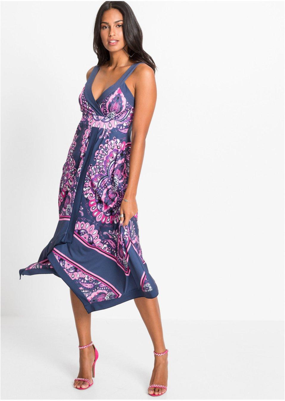Mode Femme Vêtements DJLfdOFlkj Robe exclusive à pans bleu foncé imprimé