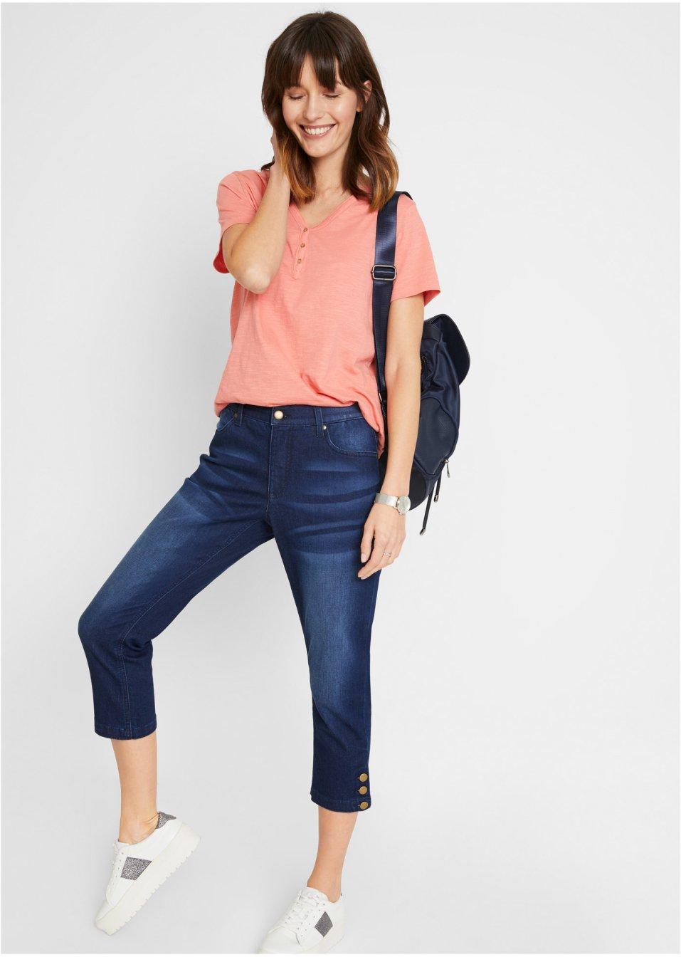 Mode Femme Vêtements DJLfdOFlkj Jean 3/4 durable, polyester recyclé dark denim used bpc  collection commande online .fr