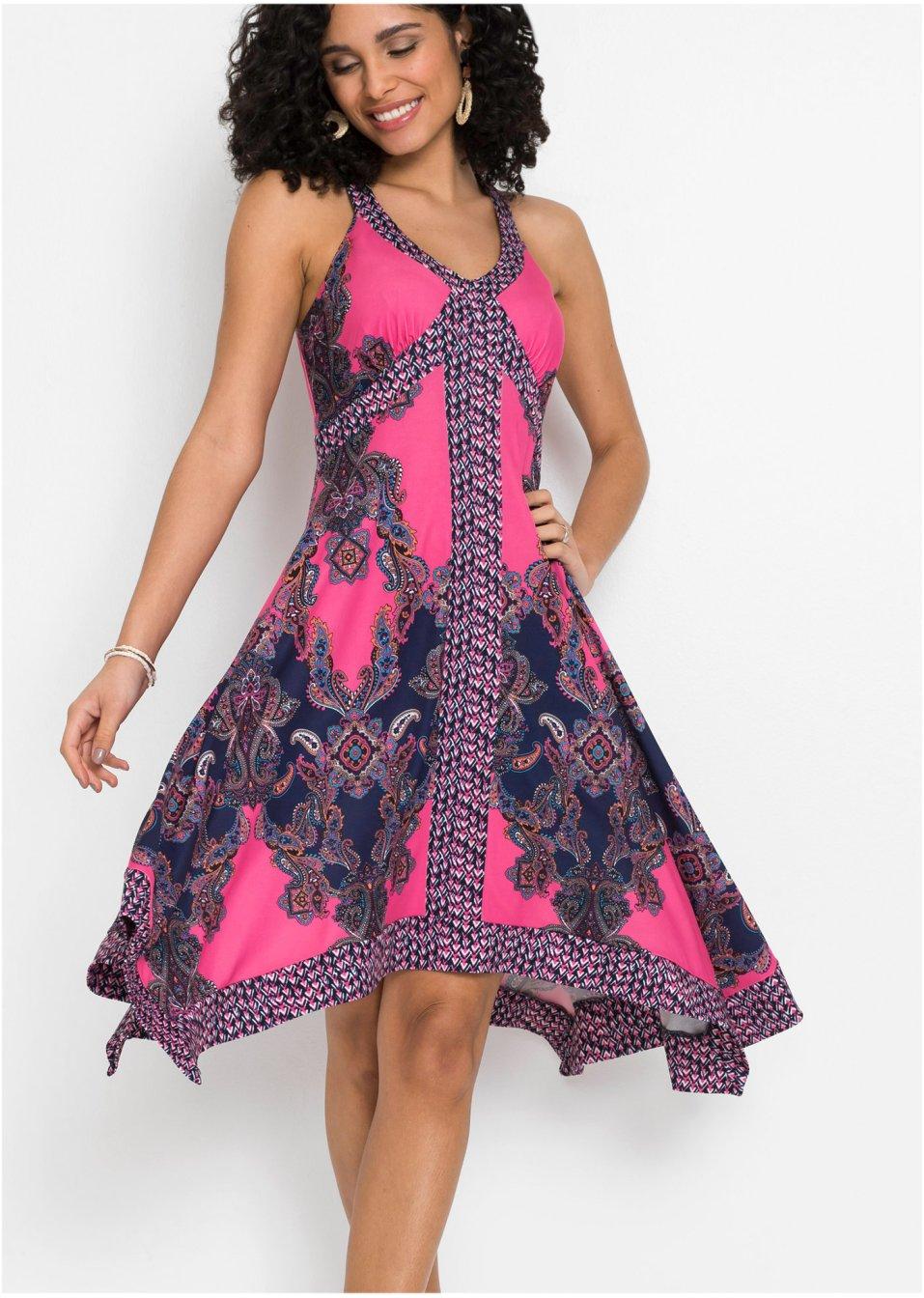 Mode Femme Vêtements DJLfdOFlkj Robe en jersey imprimée avec base asymétrique rose motif cachemire Femme BODYFLIRT .fr